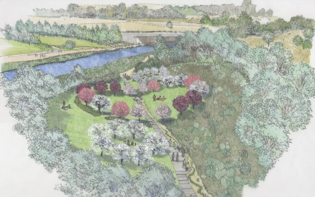 Olympic Park Covid Memorial Garden – artwork. Credit: ©2021 The Edible Bus Stop® and Davies White Landscape Architects