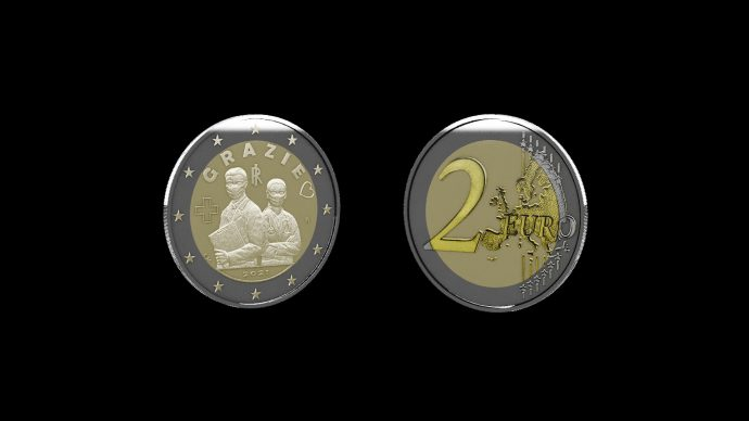 La moneta dedicata alle Professioni Sanitarie. Immagine Poligrafico e Zecca dello Stato