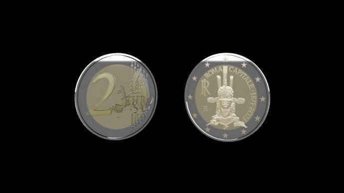La moneta dedicata al 150° Anniversario di Roma Capitale d'Italia. Immagine Poligrafico e Zecca dello Stato
