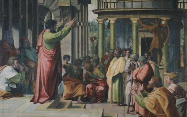Raphael Cartoon, Paul Preaching at Athens (Acts 17: 16-34), by Raphael, 1515- 16, Italy. Photo: © Victoria and Albert Museum, London. Courtesy Royal Collection Trust / Her Majesty Queen Elizabeth II 2021. The Raphael Cartoons, on display in The Raphael Court at the Victoria and Albert Museum (V&A), reopening in 2021