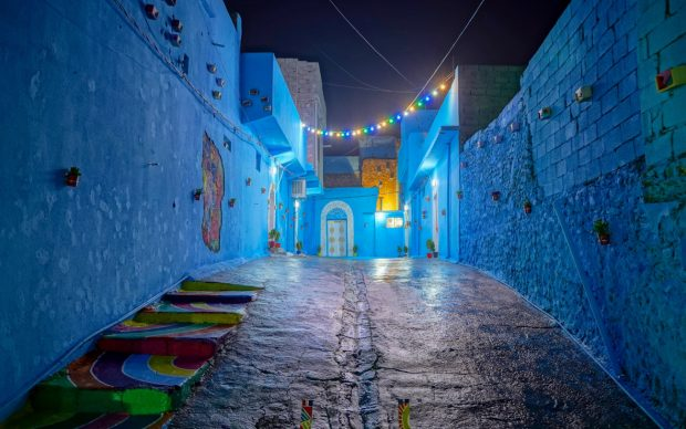 Renovated blue alley. Photography by Mohammed Abdulhaq