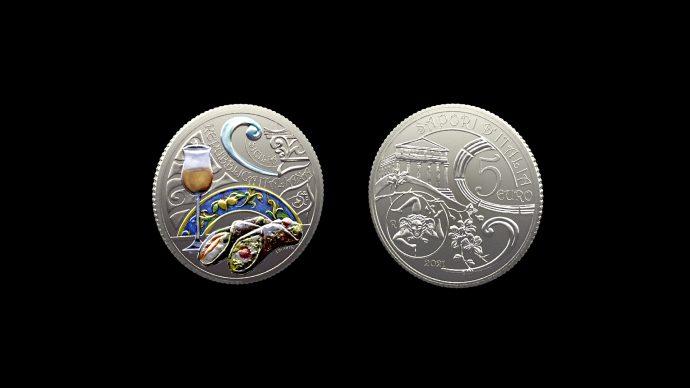 La moneta Sicilia, cannolo e passito – Serie enogastronomica. Immagine Poligrafico e Zecca dello Stato