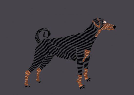 Una illustrazione di Naomi Turco tratta da libro Fifty dogs with graphic lines, pubblicato da Ost-design, 2020