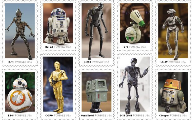 """USPS and Lucasfilm. Lucasfilm, the Lucasfilm logo, """"STAR WARS"""" and related properties are trademarks and/or copyrights in the United States and other countries of Lucasfilm Ltd. and/or its affiliates. © and TM Lucasfilm Ltd."""