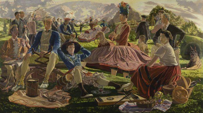 José Maria de Ucelay, Danzas suletinas, 1956. Óleo sobre lienzo, 152,4 x 270,3 cm. Colección BBVA © José María de Ucelay