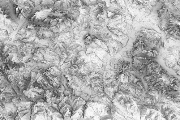 Territoriotipo, una porzione del modello digitale del sistema montuoso veneto, ricostruito a partire dai dati resi disponibili dalla Regione. Courtesy Fablab Venezia