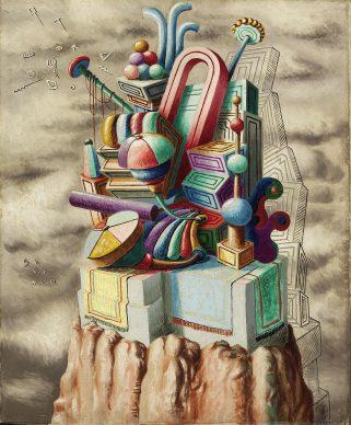 Alberto Savinio, Monumento ai giocattoli, 1930, olio su tela, 80 x 65,5 cm, Milano, collezione Prada. Courtesy Farsettiarte, Prato © Alberto Savinio by SIAE 2021
