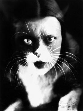 Wanda Wulz, Io + gatto, sovrimpressione del volto di Wanda Wulz con l'immagine del proprio gatto, 1932. Archivi Alinari Firenze