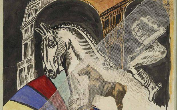 Alberto Savinio, Promenade Pompéienne, 1925-1926 tecnica mista e collage su tela, 21,5 x 27,5 cm Collezione Privata Courtesy Vitart S.A Foto di Manusardi.it © Alberto Savinio by SIAE 2021