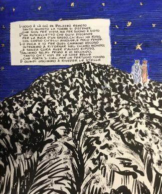 """""""La Divina Commedia - The New Manuscript"""", ultimo canto dell'Inferno (copiato a mano, illustrato e colorato con pigmenti in oro 24 kt e lapislazzuli)"""