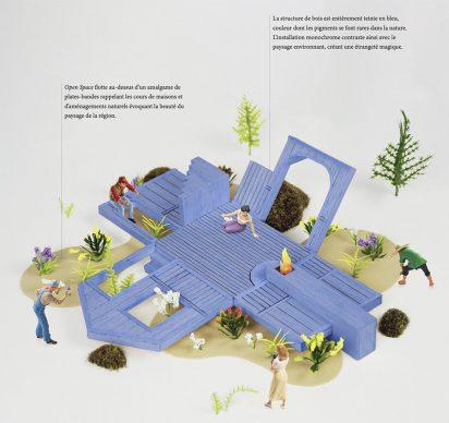 Open Space, legaga [Gabriel Lemelin, Francis Gaignard, Sandrine Gaulin, interns in architecture]. Quebec (Quebec) Canada. Photo credit legaga [Gabriel Lemelin, Francis Gaignard, Sandrine Gaulin, interns in architecture]