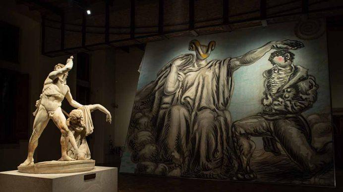 Vista dell'allestimento della mostra Savinio. Incanto e mito, allestita al Museo Nazionale Romano, Palazzo Altemps, Roma, fino al 13 giugno 2021. Photo Studiozabalik
