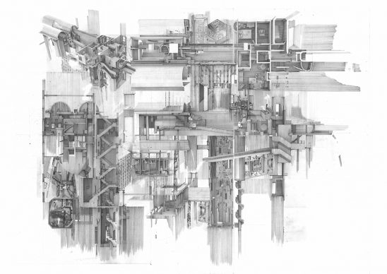 Overall Winner: Apartment #5, a Labyrinth and Repository of Spatial Memories by Clement Laurencio, Bartlett School of Architecture, UCL. Courtesy l'autore e Architecture Drawing Prize 2020