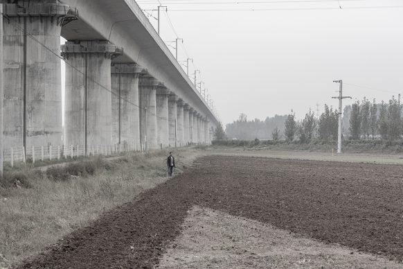 Un uomo osserva i campi, alle sue spalle la linea ferroviaria ad alta velocità, 2017, Kaifeng, Provincia dello Henan. Foto di Samuele Pellecchia