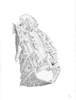 Hand-drawn Winner: Dear Hashima by Marc Brousse. Courtesy l'autore e Architecture Drawing Prize 2020