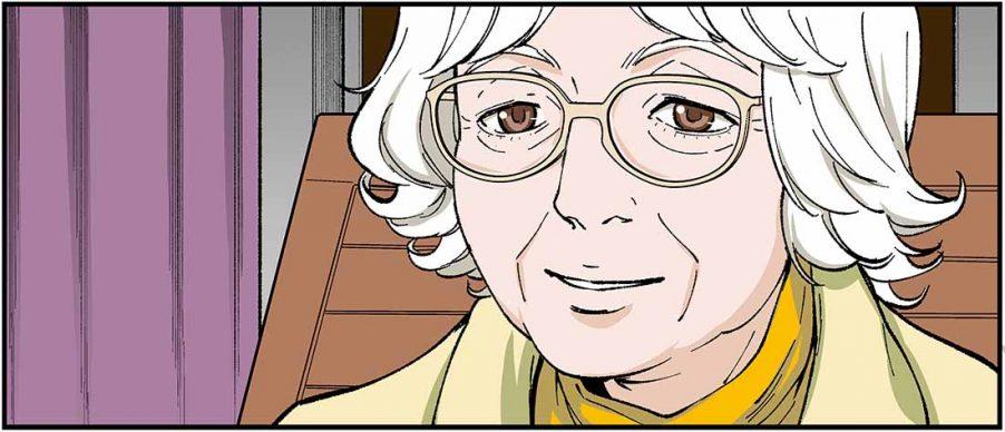 Un'immagine dal manga dedicato a Denise Scott Brown. Courtesy Vilcek Foundation