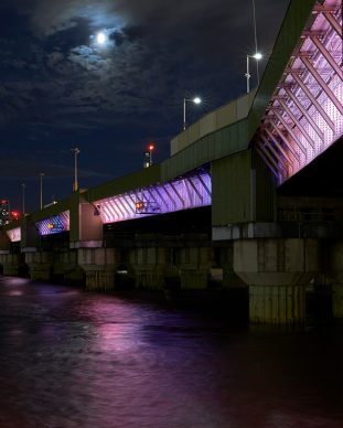 Illuminated River, Cannon Street Bridge. July 2019 © James Newton