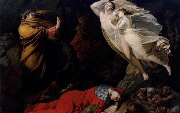 Nicola Monti (Pistoia, 1780 – Cortona, 1864), L'incontro di Paolo e Francesca, 1810, olio su tela, 168 x 121 cm. Firenze, Gallerie degli Uffizi