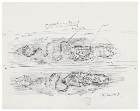 Robert Smithson, Meandering Island (Little Fort Island Maine) (1971) Graphite on paper 19 x 24 in. (48.3 x 61 cm) ©Holt/Smithson Foundation, Licensed by VAGA at ARS, New York