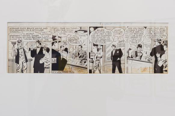 """Striscia disegnata da Bob Kane dal titolo """"Batman et Robin du 14-07-1945"""" presente all'interno della mostra Masters of Marvel & DC al PAFF! di Pordenone. Foto ©Elisa Caldana"""