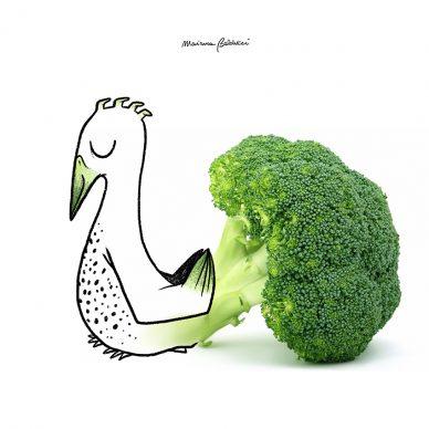 Broccolo-pavone. Una illustrazione di Marianna Balducci. Courtesy l'artista