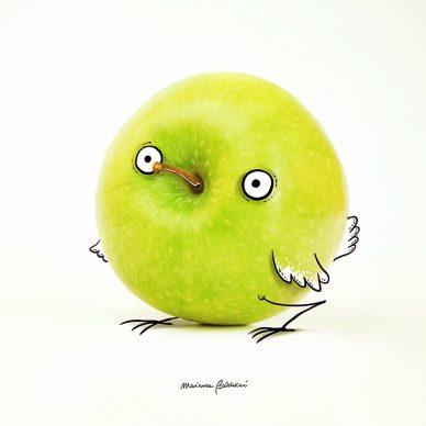 Pulcino-mela. Una illustrazione di Marianna Balducci. Courtesy l'artista