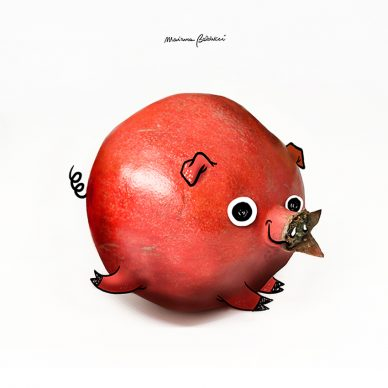 Suino-melograno. Una illustrazione di Marianna Balducci. Courtesy l'artista