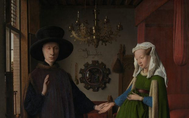 Jan van Eyck, Portrait of Giovanni(?) Arnolfini and his Wife (The Arnolfini Portrait), 1434, Oil on oak © The National Gallery, London. Dettaglio