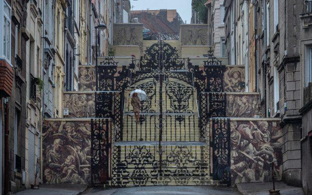 ©Aruallan. Borondo PASSAGE. Acylics on wall, Boulogne sur Mer (FR), 2020