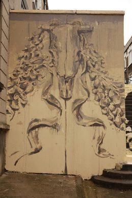 Borondo, PASSAGE. Acrylics on wall, Boulogne sur Mer (FR), 2020 © Pauline Ledez