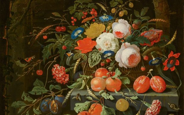 Abraham Mignon, Still Life of Flowers and Fruit, c.1670. Canvas, 75 x 63 cm. Mauritshuis, The Hague