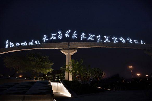 Angelo Bonello, Run Beyond, 2015 Iron and LED lights 5300 cm. Courtesy the artist and Light Art Collection. Photo © Riyadh Art 2021