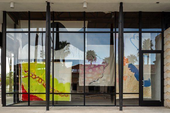 Desert X installation view of Vivian Suter, Tamanrasset. 2021. Photography by Lance Gerber. Courtesy the artist and Desert X