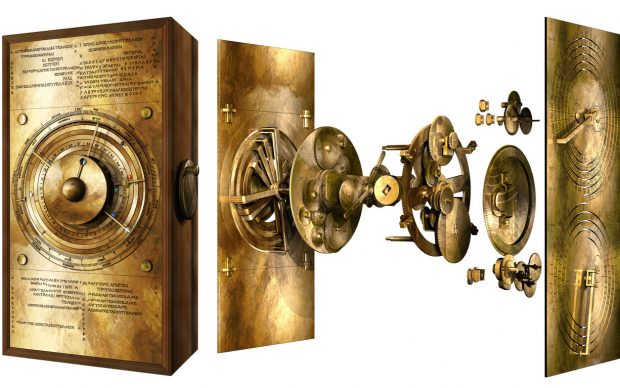 Exploded model of the Cosmos gearing of the Antikythera Mechanism. ©2020 Tony Freeth