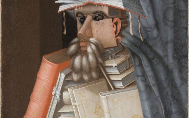 Giuseppe Arcimboldo, Le Bibliothécaire, vers 1566? Huile sur toile, 97 x 71 cm. Château de Skokloster, inv.: 11616. Photo: Skokloster Castle/SHM. ADAGP, Paris 2021
