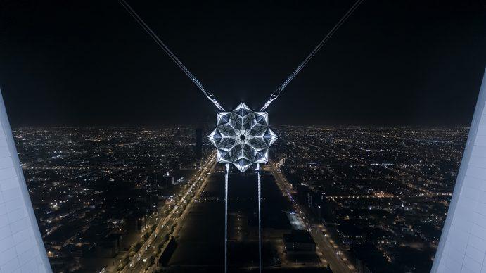 Koert Vermeulen, Star in Motion, 2021. Steel, aluminium, LED lighting, automatic lighting, control systems 625 cm diameter. Courtesy the artist. Photo © Riyadh Art 2021