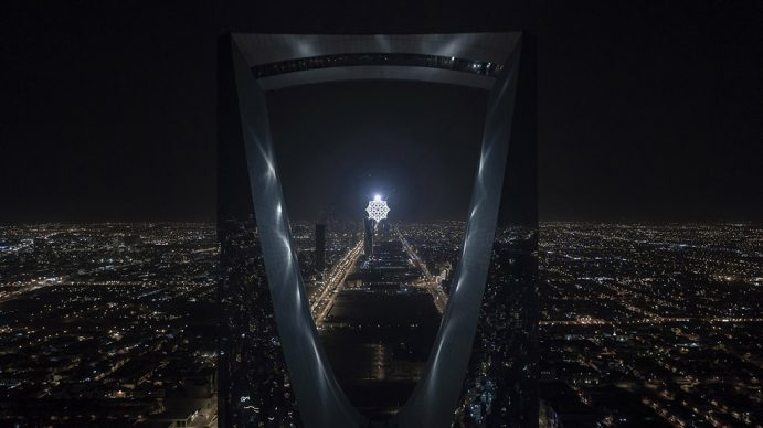 Koert Vermeulen, Star in Motion, 2021 Steel, aluminium, LED lighting, automatic lighting, control systems 625 cm diameter. Courtesy the artist. Photo © Riyadh Art 2021