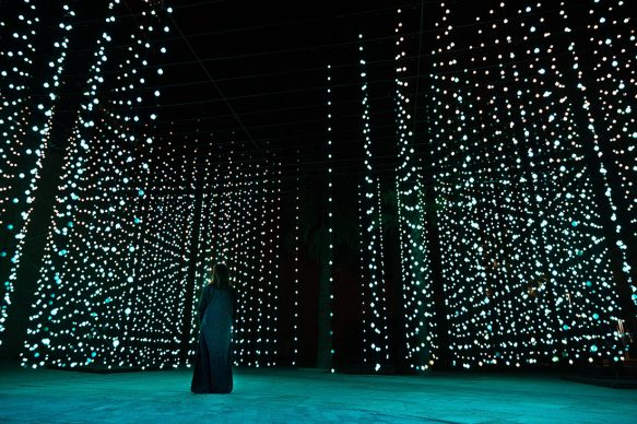 Squidsoup, Submergence, 2013-2021. Electronics, LEDs, computers, support structure 768 x 1033 x 447 cm. Courtesy the artists and Light Art Collection. Photo © Riyadh Art 2021