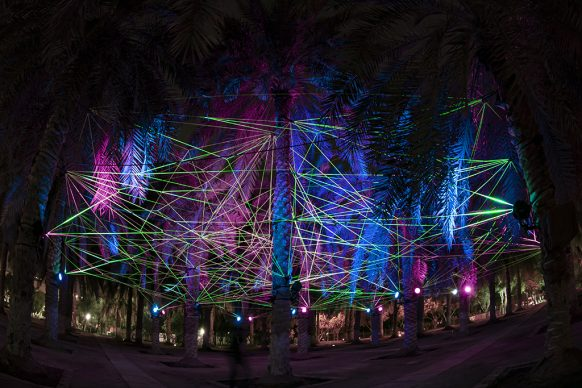Tom & Lien Dekyvere, Rhizome, 2021 Fluorescent ropes and LED lights. Courtesy the artist and Light Art Collection. Photo © Riyadh Art 2021