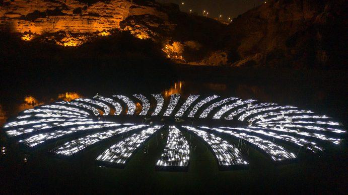 UxU Studio Illusion Hole, 2020 Metal, LED Lights, wood 200x200x40 cm. Courtesy the artists and Light Art Collection. Photo © Riyadh Art 2021
