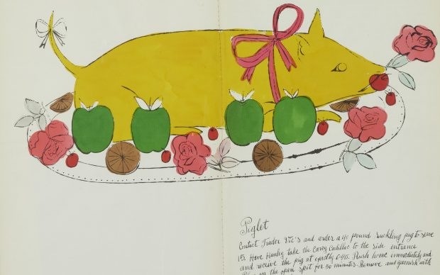 Piglet, one of the recipes from Wild Raspberries, by Suzie Frankfurt and Andy Warhol. Courtesy of Bonhams
