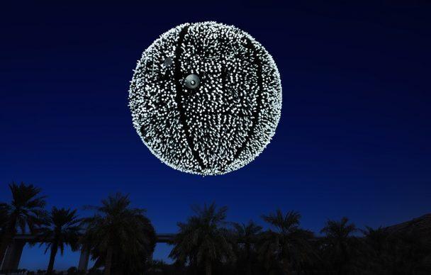 Wang Yuyang, Artificial Moon, 2007 Energy saving lamps, metal frame 400 cm diameter. Courtesy Massimo de Carlo. Photo © Riyadh Art 2021