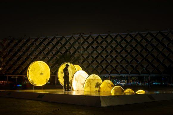 Zaman Jassim, When the Moon is Full, 2021 Fiberglass, LED lights and mixed media. Courtesy the artist. Photo © Riyadh Art 2021