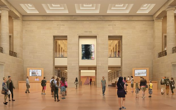 AFTER: Upon entering the museum via the Robbi and Bruce Toll Terrace, visitors will be able to see up into the Great Stair Hall and down into the Williams Forum, revealing pathways to art on multiple levels. Architectural rendering by Gehry Partners, LLP and KX-L, 2016. Photo courtesy Philadelphia Museum of Art, 2021.