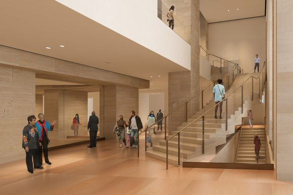 AFTER: Staircases are a signature feature of Frank Gehry's design. Part of the challenge for the architect was to use a light touch, ensuring that the museum's history is preserved, yet brought into the present day. A gently winding staircase is among the new changes, gesturing to another set of steps into the Williams Forum. Architectural rendering by Gehry Partners, LLP and KX-L, 2016. Photo courtesy Philadelphia Museum of Art, 2021.