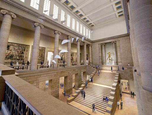 AFTER: The Great Stair Hall remains largely unchanged, but into views of Lenfest Hall are added to help orient visitors. Architectural rendering by Gehry Partners, LLP and KX-L, 2016. Photo courtesy Philadelphia Museum of Art, 2021.