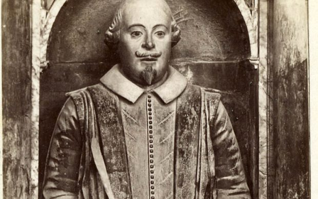 Photograph of Shakespeare's monument, Holy Trinity Church. Bedford View 272. With negative. Courtesy of the Shakespeare Birthplace Trust