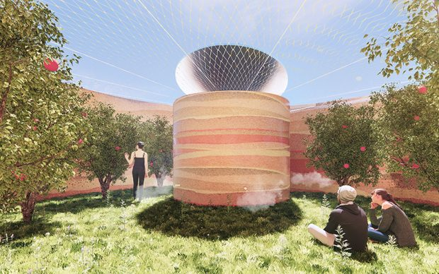 The Source by Mateusz Góra and Agata Gryszkiewicz (Tamaga Studio). The top-ranked submission to the LAGI 2020 Fly Ranch Design Challenge.
