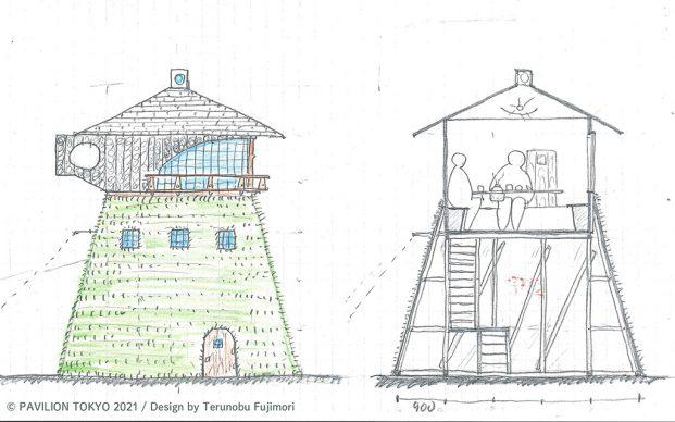 Pavilion Tokyo 2021. Provisional pavilion design by Terunobu Fujimori © Pavilion Tokyo 2021