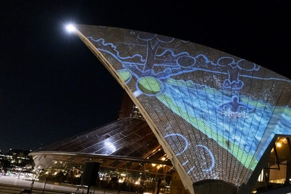 Art Gallery of New South Wales celebrates 150th  Anniversary with 'Badu Gili: Wonder Women'  featuring work of six female Aboriginal artists  projected onto the sails of Sydney Opera House.Photo credit: Brook Mitchell/Getty Images for Art  Gallery of NSW